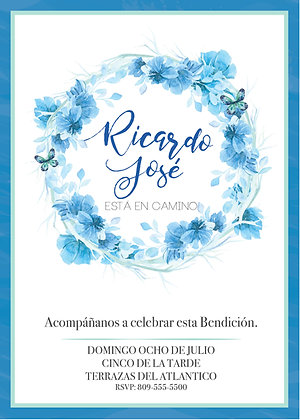 Invitación Baby Shower Flores Azules