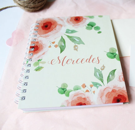 Libreta Personalizada - Flores Rosadas