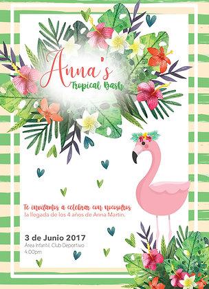 Invitación Cumpleaños Flamenco Tropical
