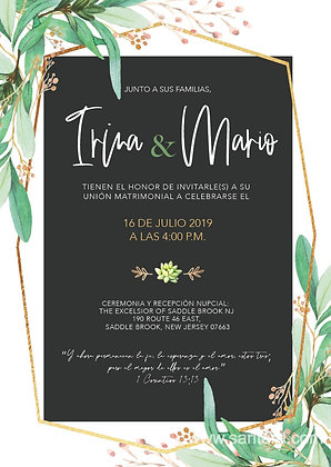Invitación de Boda - Greenery and Black