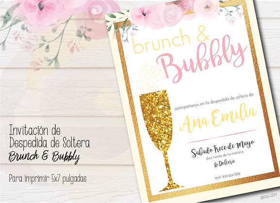 Invitación Despedida de Soltera Brunch and Bubbly