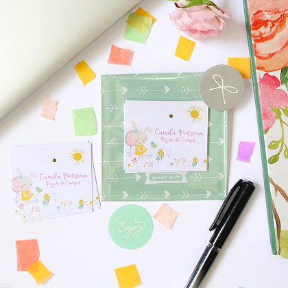 Set de Tarjetas y Stickers - Conejita