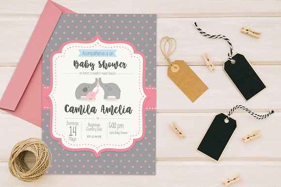Invitación Baby Shower Elefante Rosado y Gris
