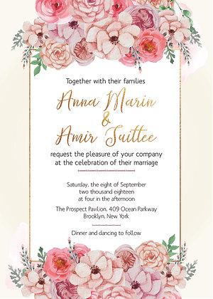 Invitación de Boda - Flores Blush