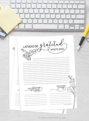 Listado de Gratitud - Descargable Gratis
