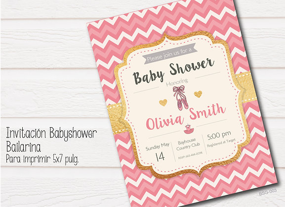 Invitación Baby Shower Bailarina