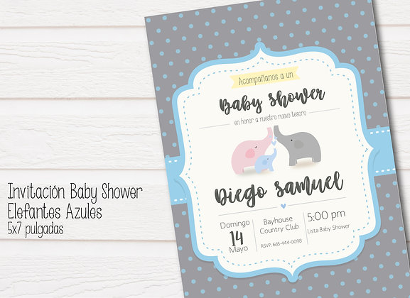 Invitación Baby Shower Elefantes