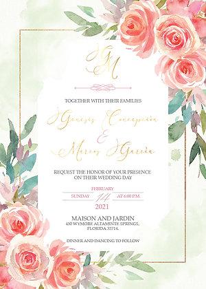 Invitación de Boda -Greenery Splash Floral