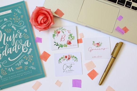 Set de 3 Tarjetas - Floral y Verde delicado