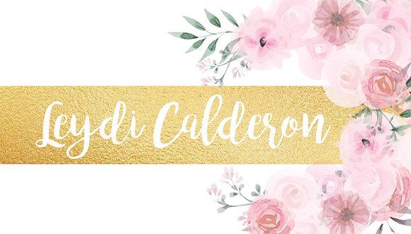 Tarjeta Personal Floral con Dorado