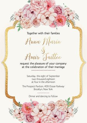 Invitación de Boda - Floral Blush Pink