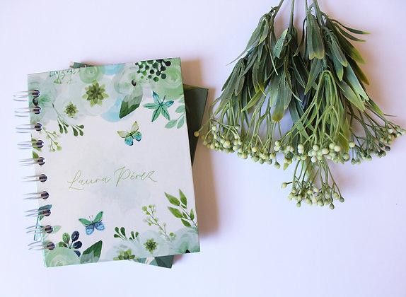 Libreta Verde Floral