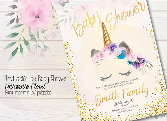 Invitación Baby Shower Unicornio