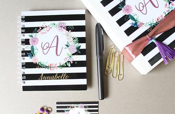 Libreta Personalizada - Negro con Flores