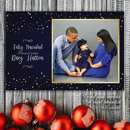 Postal de Navidad - Azul y Dorado