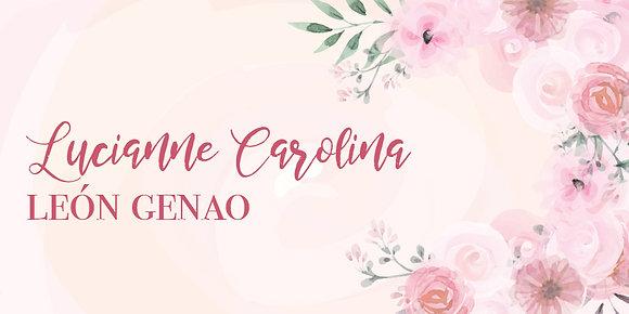 Tarjeta de Nombre - Floral Rosado