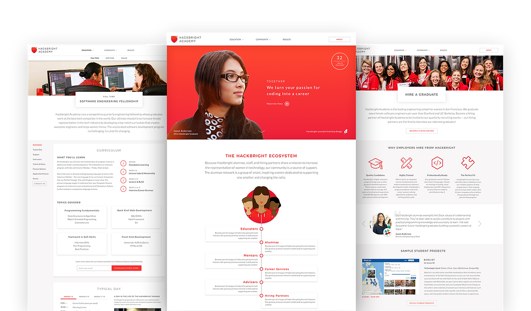 Hackbright website designs - a Neuron UI UX and branding project