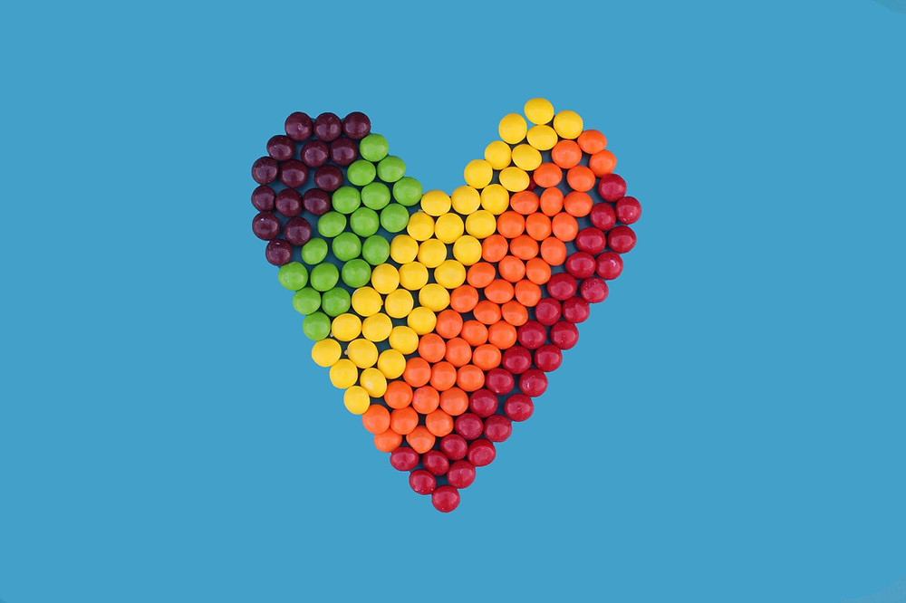 A heart made out of skittles