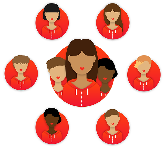 Designs of women used in the Hackbright UI UX web design project