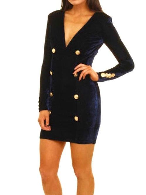 """""""Kennedy"""" v neck long sleeve velvet blazer dress"""