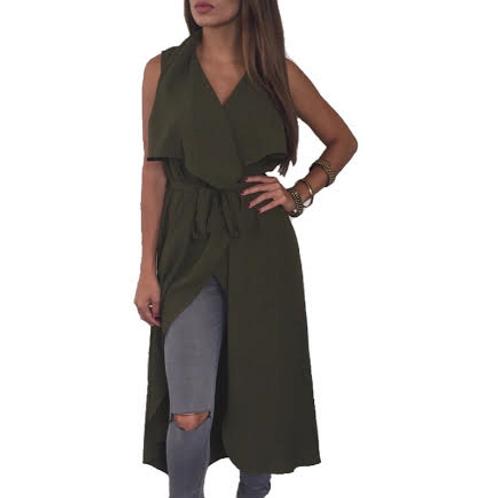 """""""Ellison"""" olive green wrap trench vest"""
