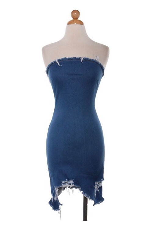 """Jolie"" sleeveless distressed mini dress"