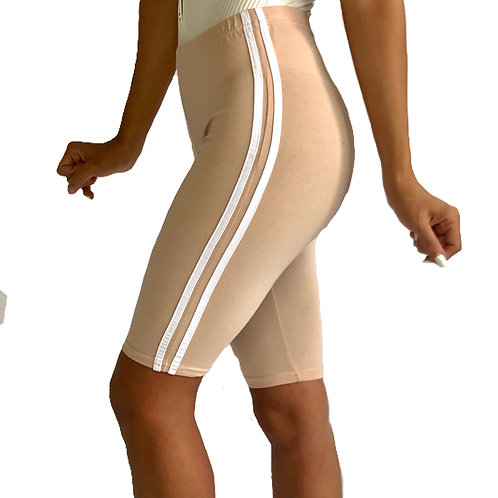 """Lexi"" beige stripe biker shorts"