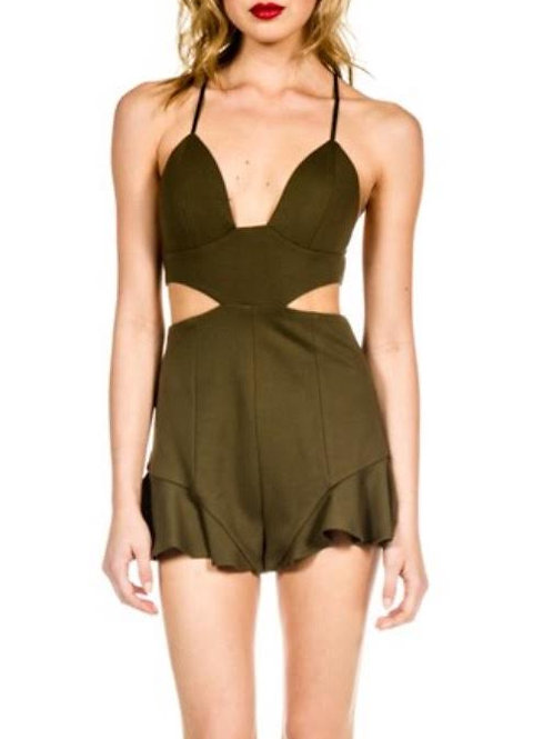 """""""Darby"""" olive open side ruffle one piece romper playsuit"""