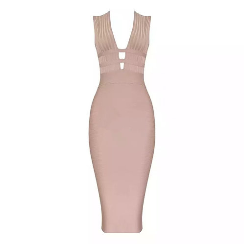 """Esther"" beige plunge open side bandage bodycon cocktail party dress"