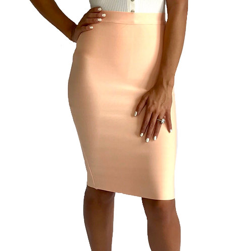 """Cassie""Peach midi knee length bandage pencil skirt"