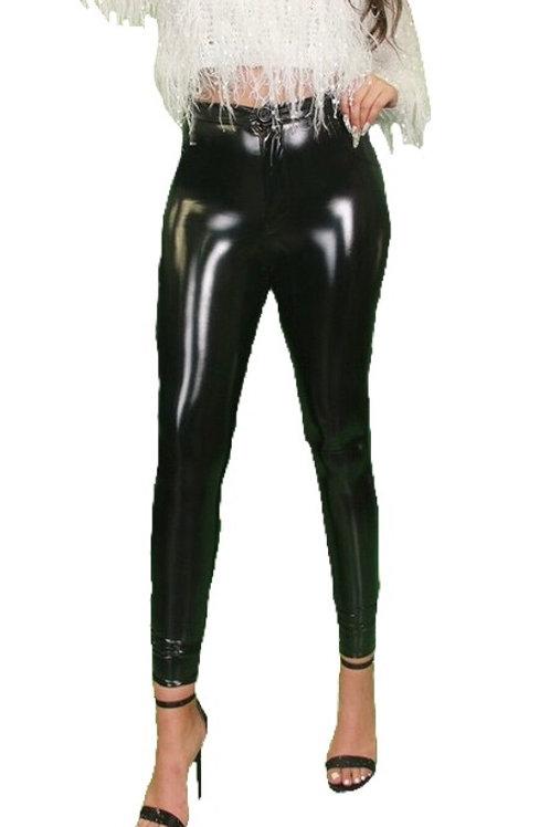"""Janet"" black patent button leggings pants"