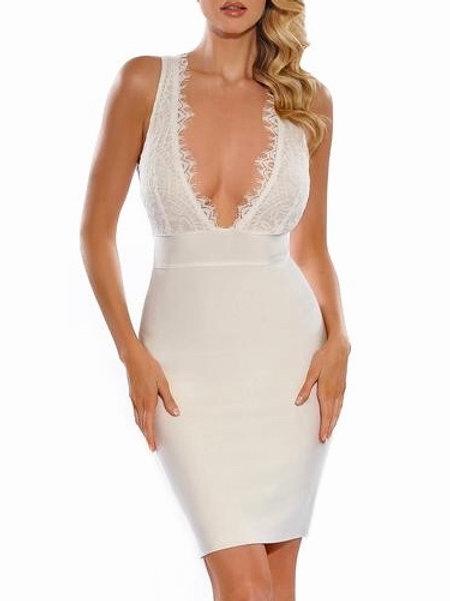 """""""Tiegan"""" lux line white lace plunge bandage dress"""