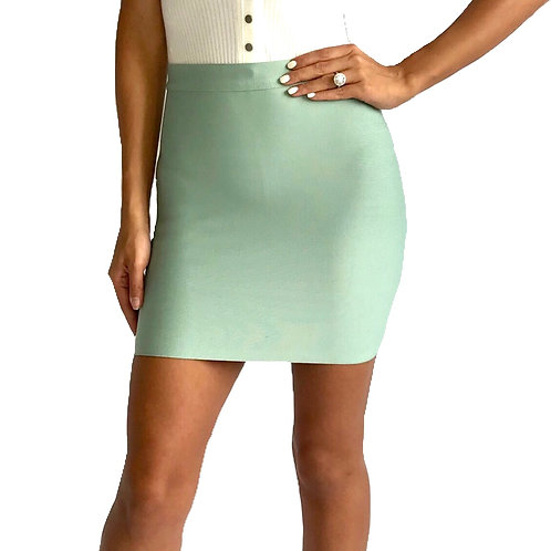 """Kourt"" teal bandage mini skirt"