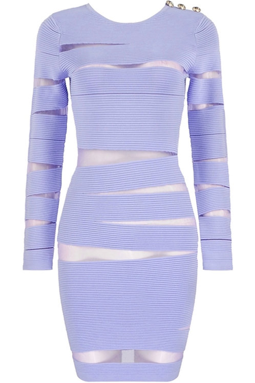 """Jade"" bandage mesh long sleeve bodycon dress"
