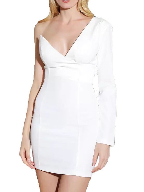 """""""Kelley"""" white one sleeve fitted dress"""