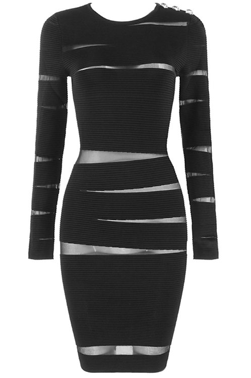 """Jade"" black bandage mesh long sleeve dress"