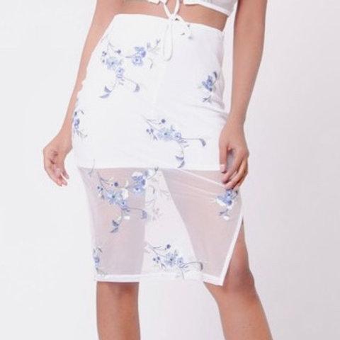 """Iris"" white mesh floral skirt"