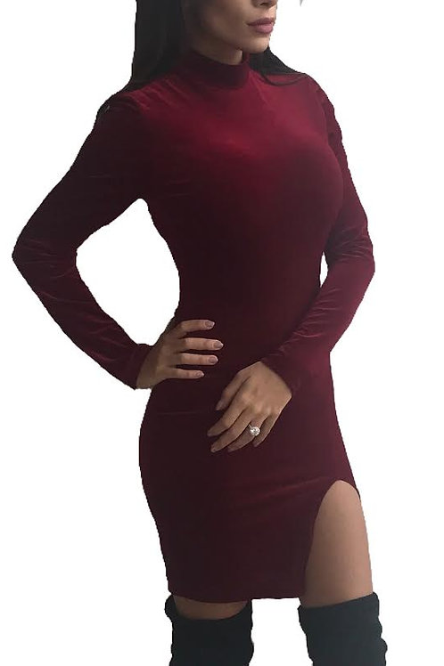 """Demi"" mock neck deep maroon velvet dress"