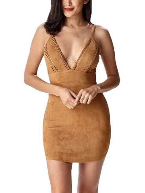 """Brandi"" tan faux suede mini dress"