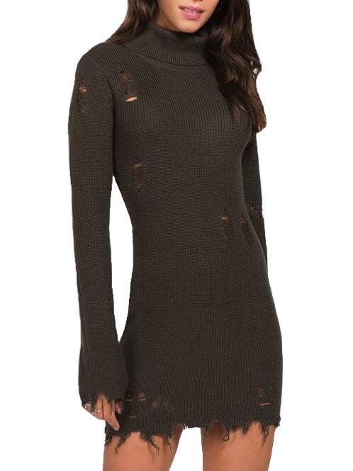 """""""Janelle"""" olive green distressed knit turtleneck dress"""