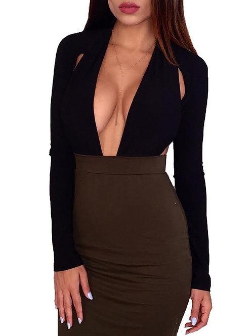 """Vixen"" plunge long sleeve open back bodysuit"