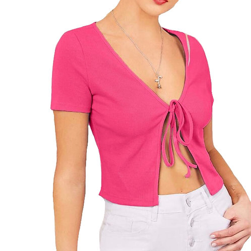 """Winnie"" hot pink tie from short sleeve top"