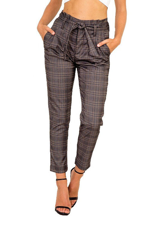 """Jordan"" high waist tie plaid pants"