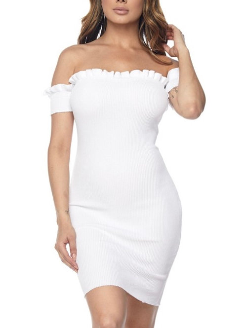"""Gia"" white off shoulder ribbed knit mini dress"