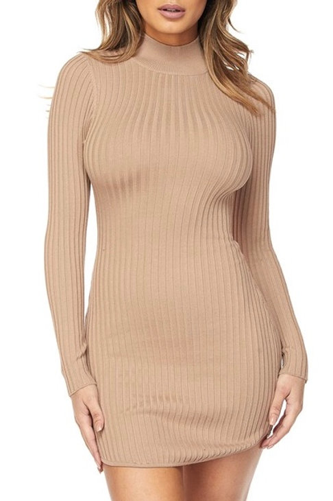 """Jessa""ribbed knit long sleeve turtleneck dress"