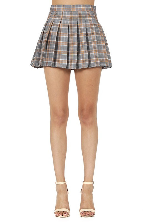 """Selma"" grey pleated plaid skirt"