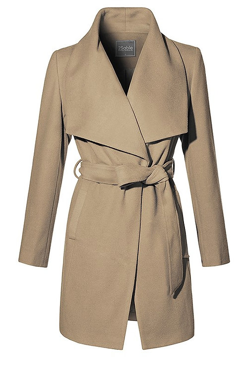 """Marcelle"" wrap camel coat"