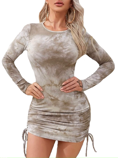 """Larsa"" beige tan tie dye long sleeve dress"