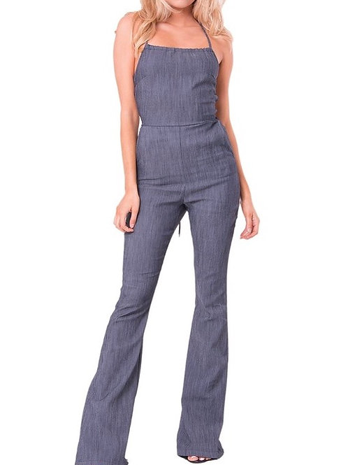 """Katrina"" one piece denim open back jumpsuit"