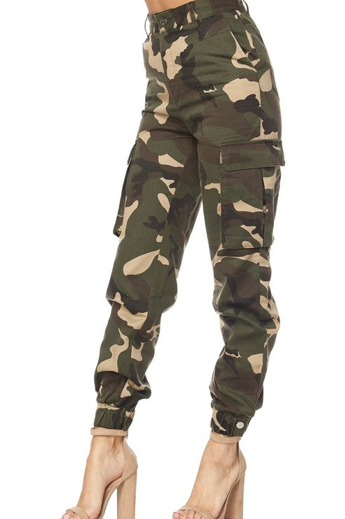 """""""Harlow"""" camouflage high waist cargo military pant"""